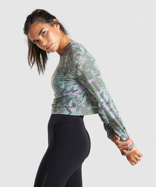 Gymshark Mesh Layer Long Sleeve Top - Light Green 2
