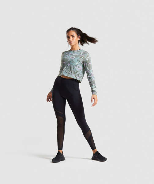 Gymshark Mesh Layer Long Sleeve Top - Light Green 3