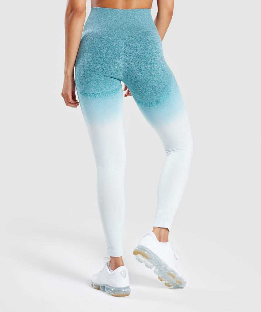 Gymshark Ombre Seamless Leggings  - Deep Teal/Ice Blue 2