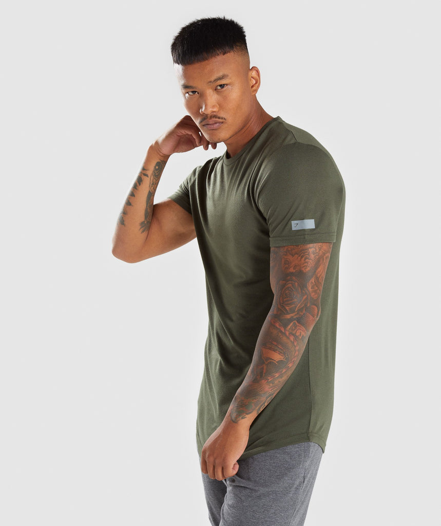 Gymshark Perforated Longline T-Shirt - Woodland Green 4