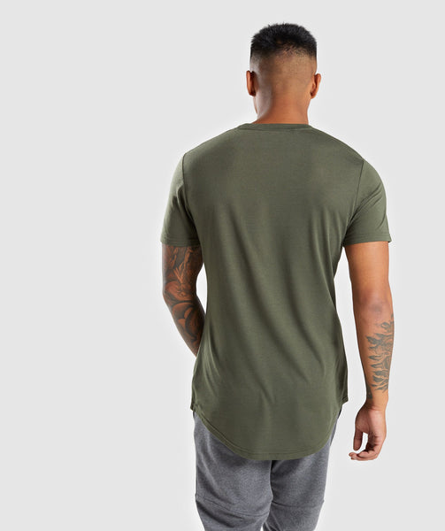 Gymshark Perforated Longline T-Shirt - Woodland Green 1