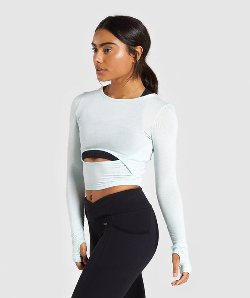 Gymshark Poise Long Sleeve Crop Top - Washed Green 4