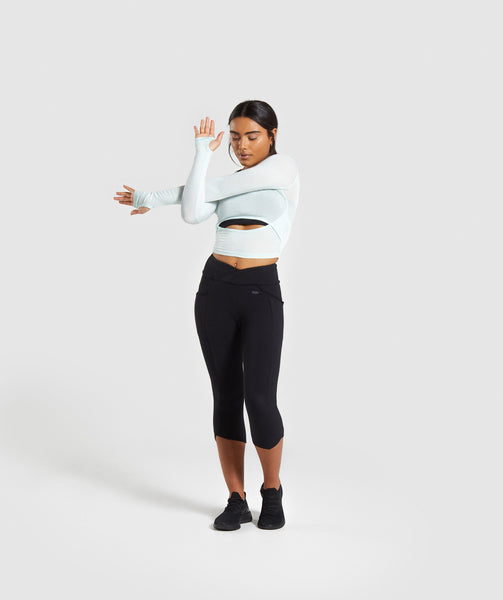 Gymshark Poise Long Sleeve Crop Top - Washed Green 2