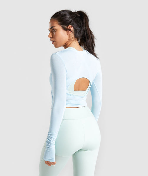 Gymshark Poise Long Sleeve Crop Top - Washed Blue 1