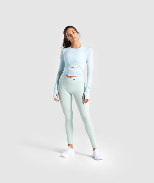 Gymshark Poise Long Sleeve Crop Top - Washed Blue 3