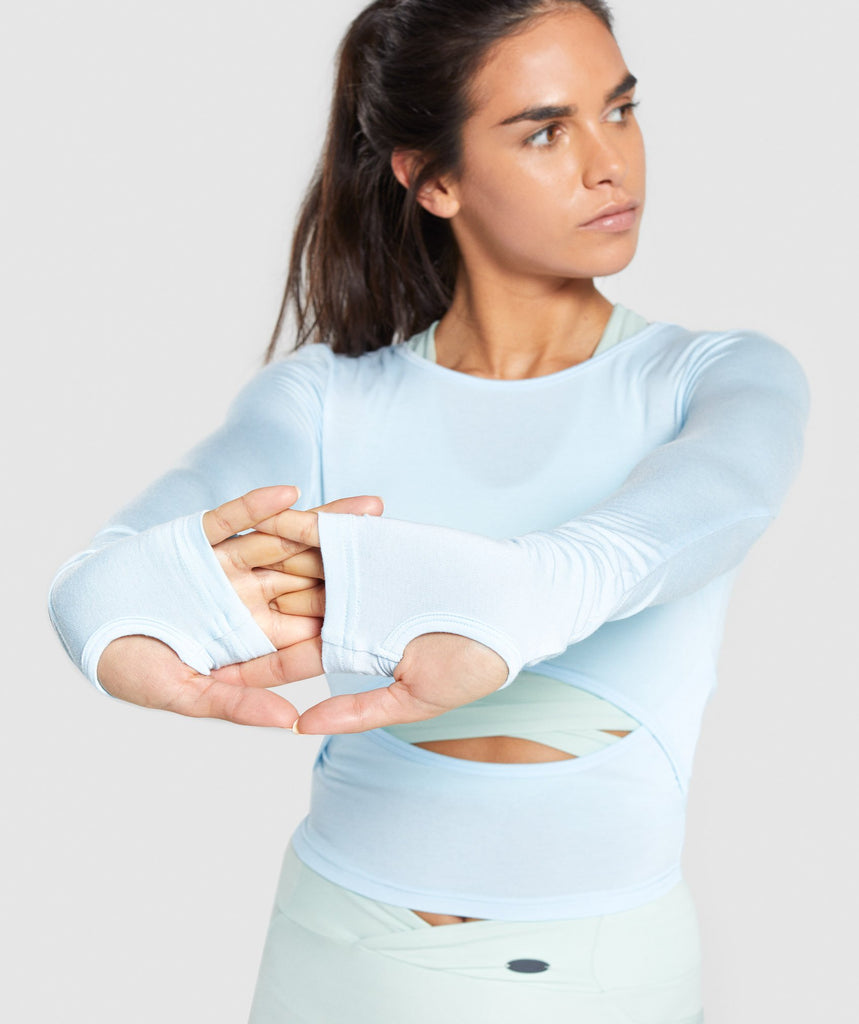 Gymshark Poise Long Sleeve Crop Top - Washed Blue 6