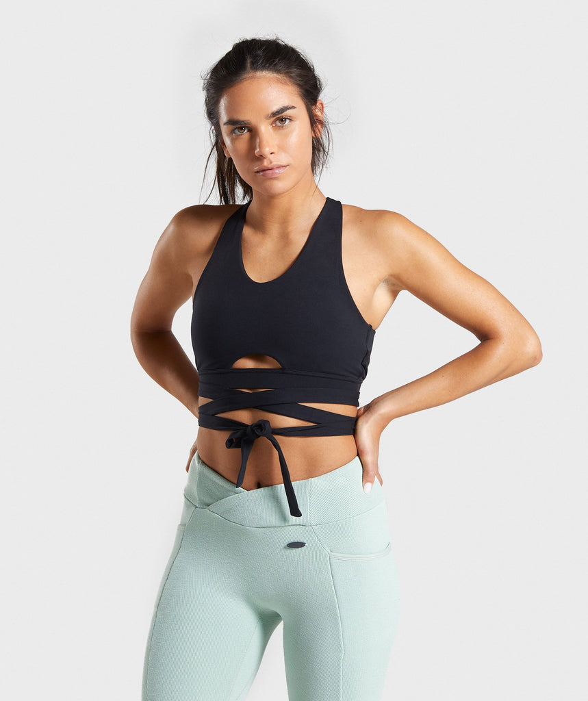 Gymshark Poise Wrap Around Bralette - Black 1