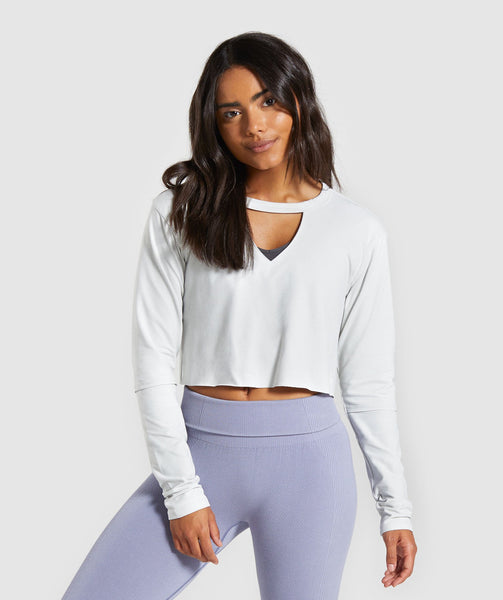 Gymshark Power Down Crop Top - Light Grey 4