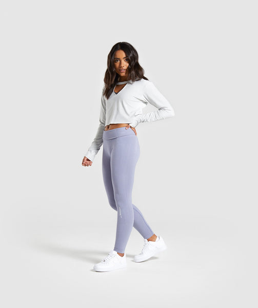 Gymshark Power Down Crop Top - Light Grey 2