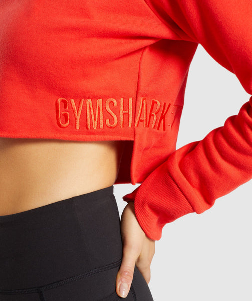 Gymshark Primary Cropped Raw Edge Hoodie - Pop Red 4