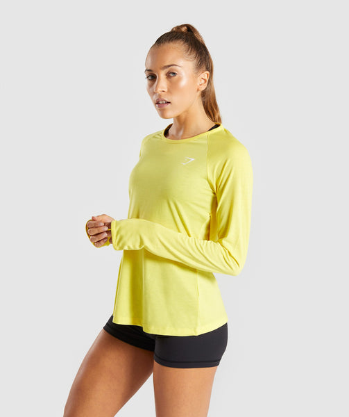 Gymshark Primary Open Cross Back Long Sleeve - Pop Yellow 2