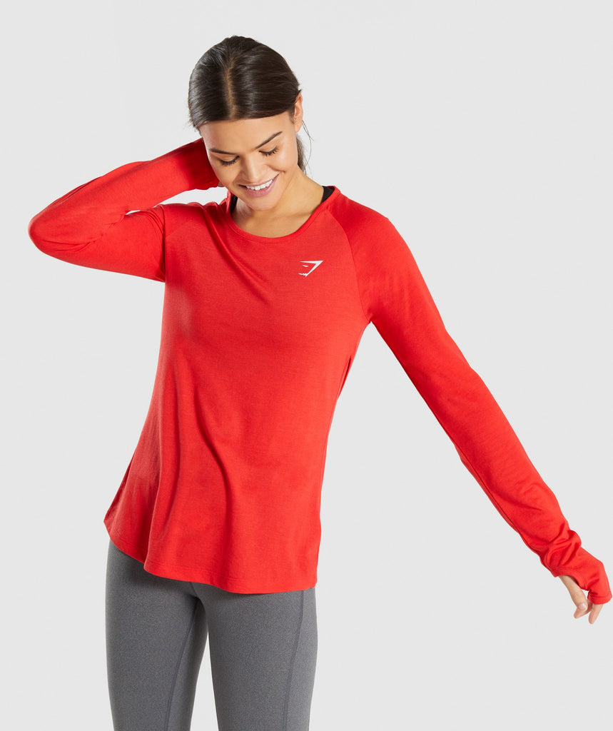 Gymshark Primary Open Cross Back Long Sleeve - Pop Red 1