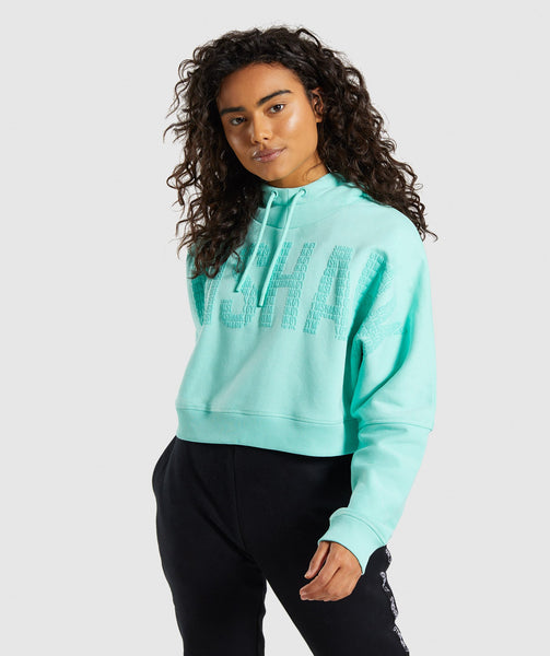 Gymshark Repeat Print Crop Pullover - Washed Turquoise 2
