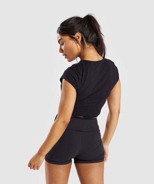 Gymshark Ribbon Capped Sleeve Crop Top - Black 1