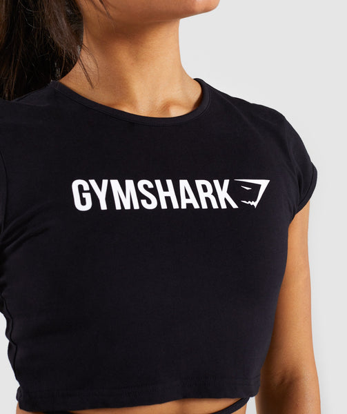 Gymshark Ribbon Capped Sleeve Crop Top - Black 4
