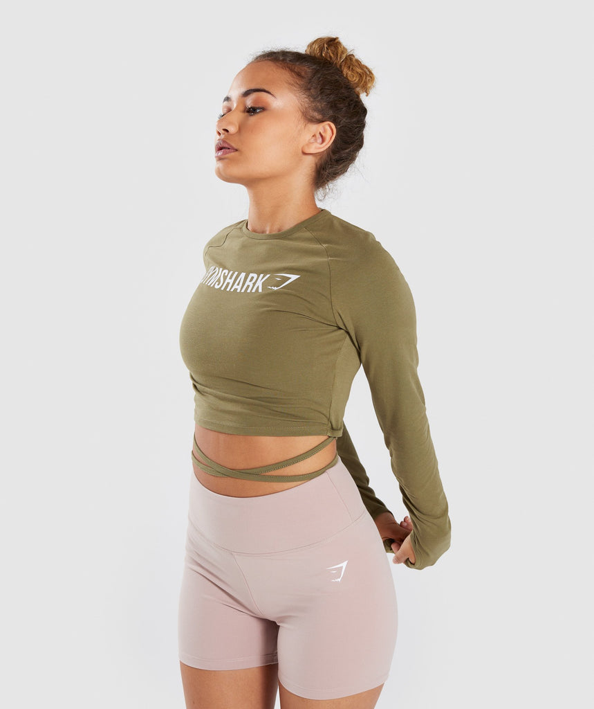 Gymshark Long Sleeve Ribbon Crop Top - Khaki 1