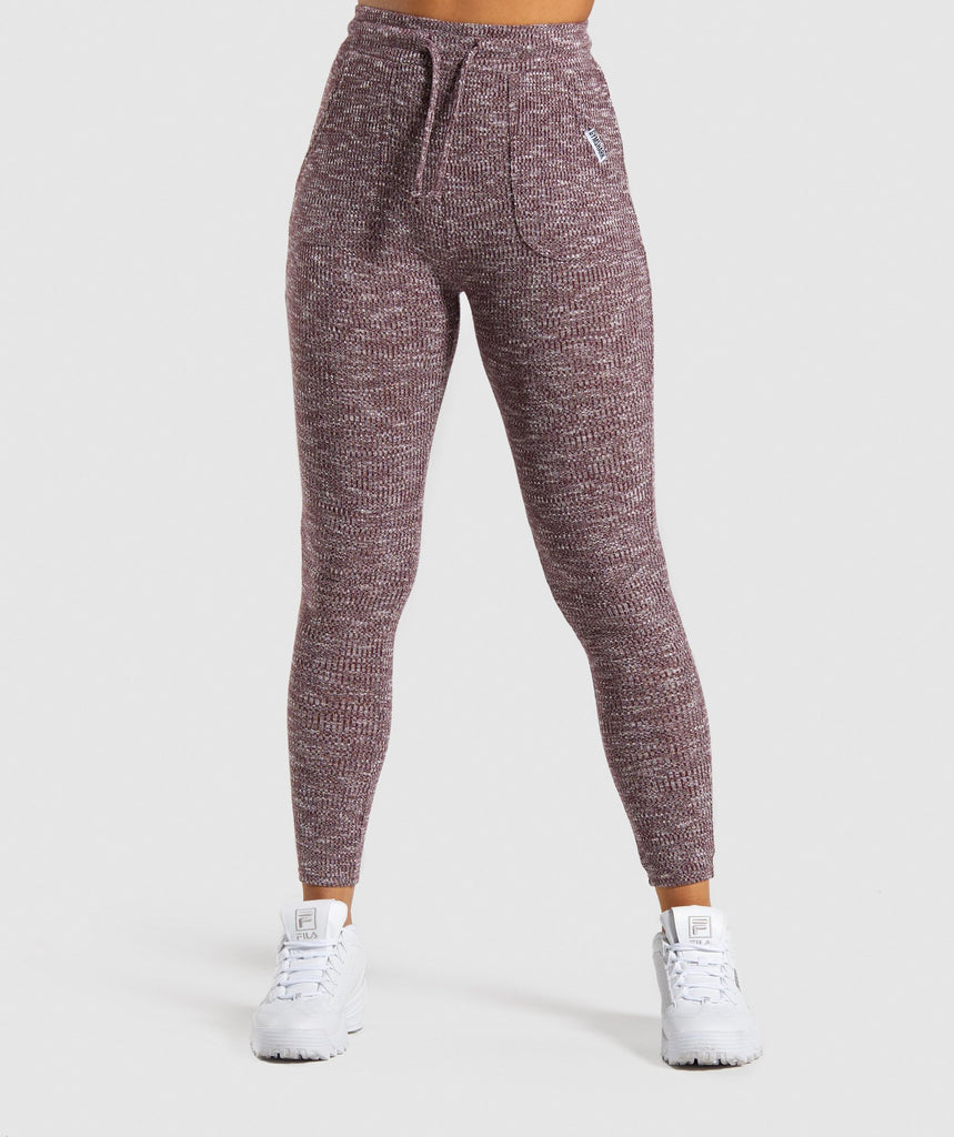 Gymshark Slounge Leggings - Berry Red Marl 1