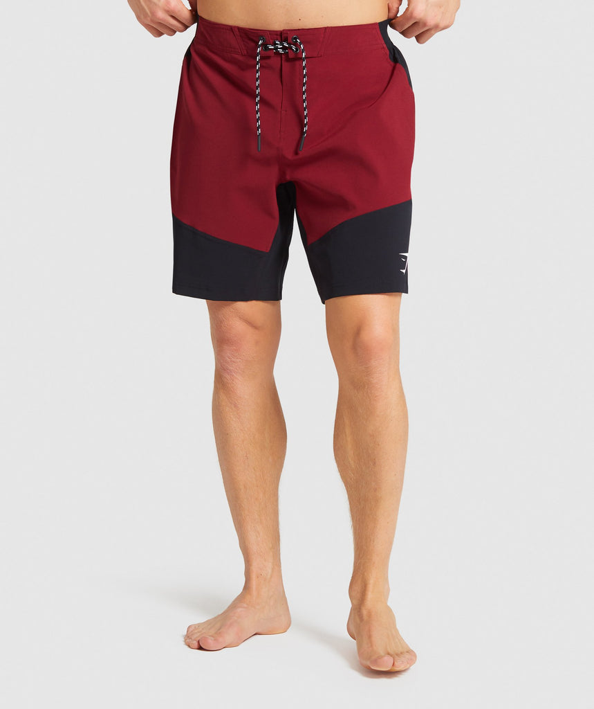Gymshark Swim Board Shorts - Claret/Black 1