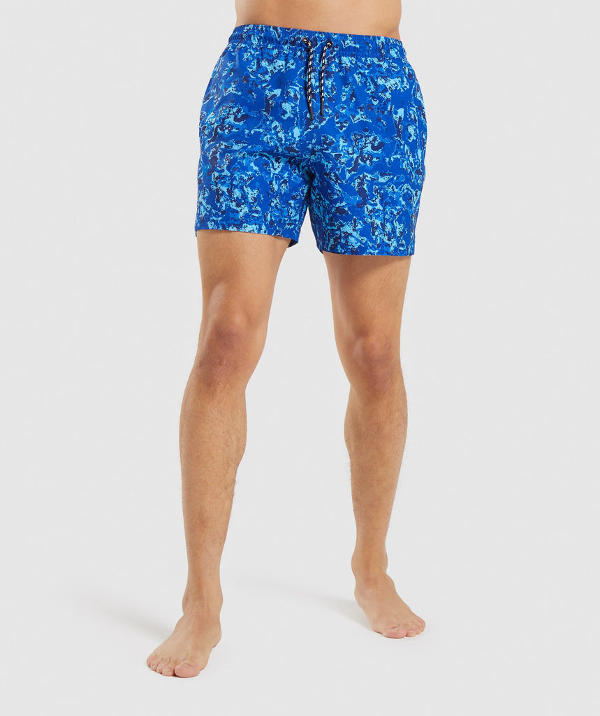 Gymshark Swim Shorts - Blue Water Print 1