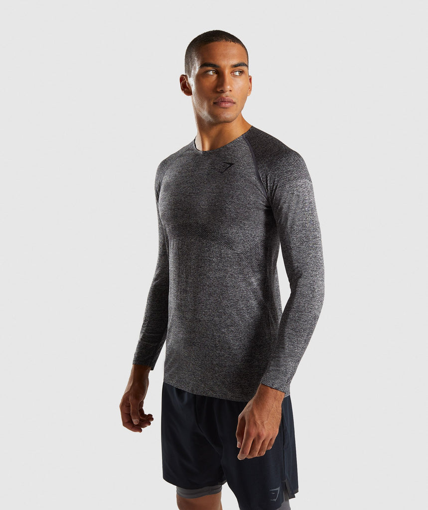 Gymshark Shadow Seamless Long Sleeve T-Shirt - Black Marl 1