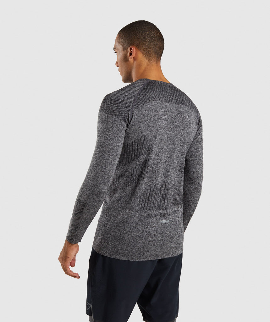Gymshark Shadow Seamless Long Sleeve T-Shirt - Black Marl 2