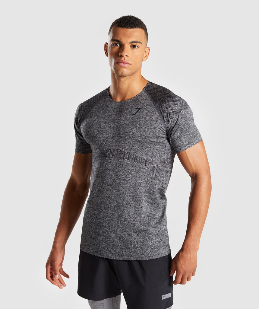 Gymshark Shadow Seamless T-Shirt - Black Marl 1
