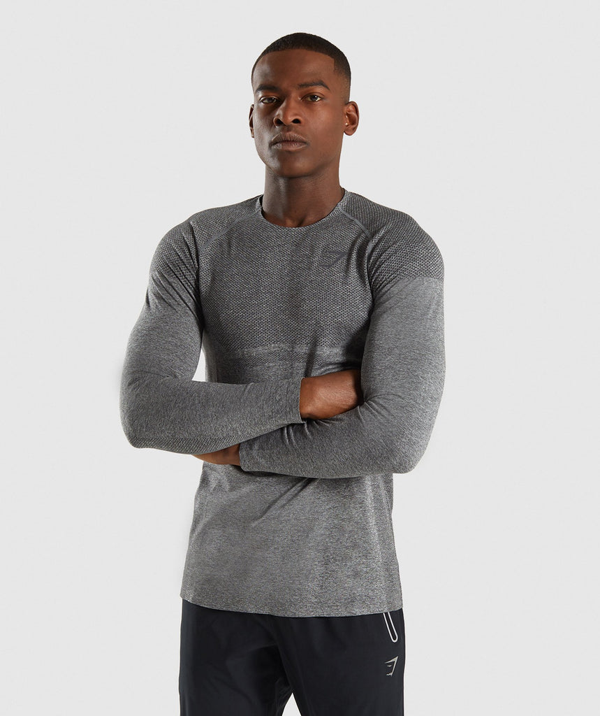 6bda24c12 Gymshark Shadow X Seamless Long Sleeve T-Shirt - Charcoal Marl ...