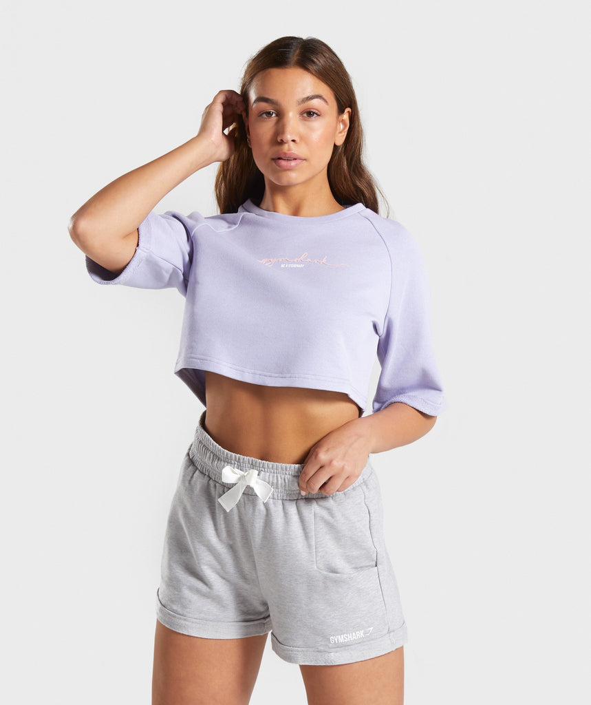 Gymshark Signature Boxy Cropped Sweater - Lavender 1