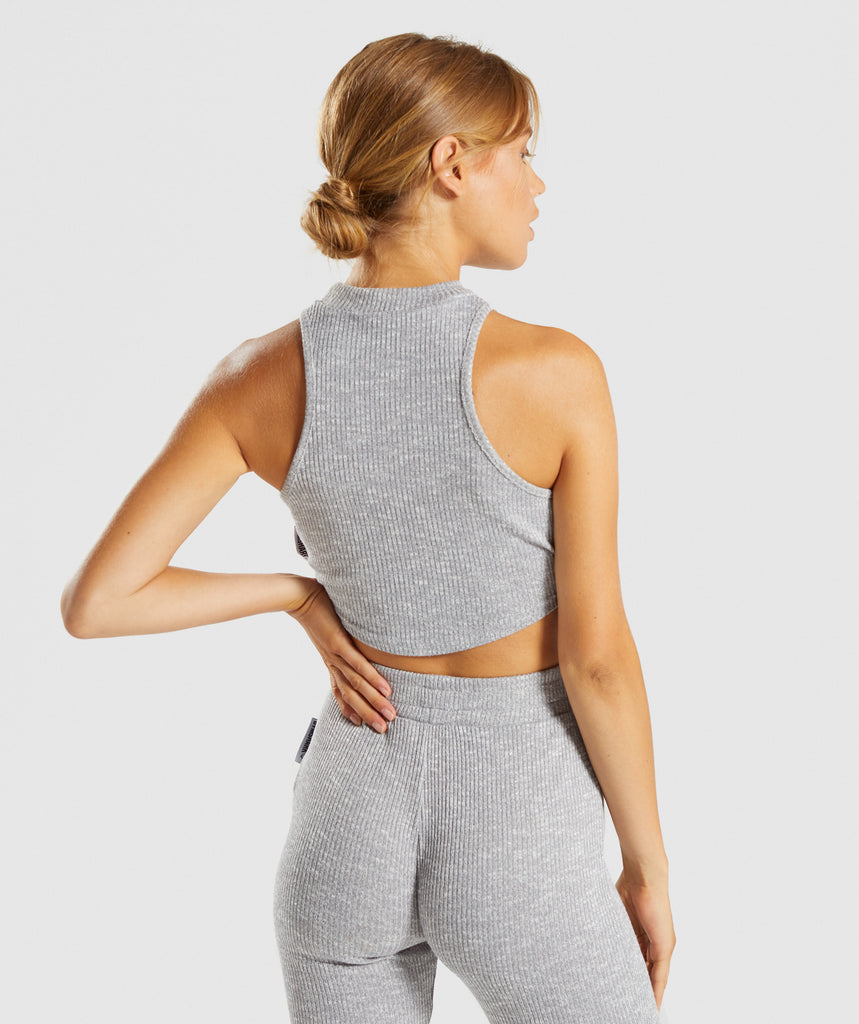 Gymshark Slounge Crop Top - Light Grey Marl 2