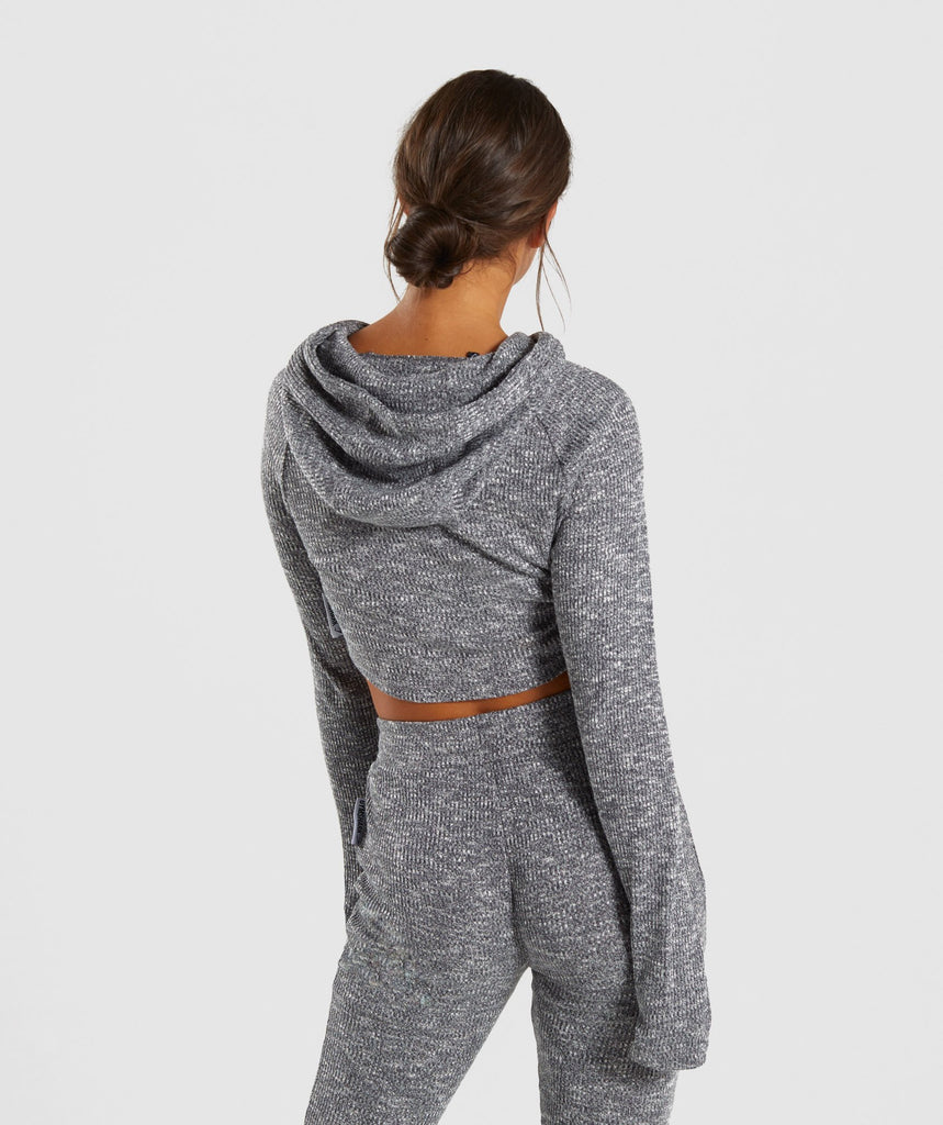 Gymshark Slounge Cropped Hoodie - Charcoal Marl 2