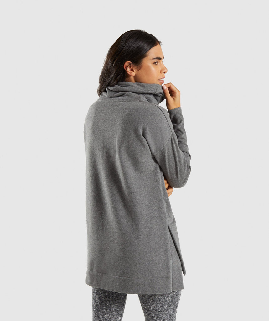 Gymshark Slounge Ribbed Pullover -Charcoal Marl 2
