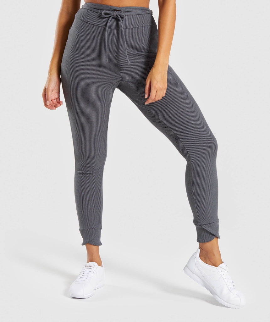 Gymshark Slounge Ribbon Bottoms - Charcoal Marl 1