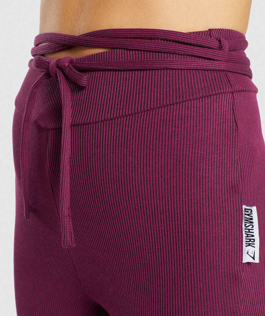 Gymshark Slounge Ribbon Bottoms - Dark Ruby Marl 6