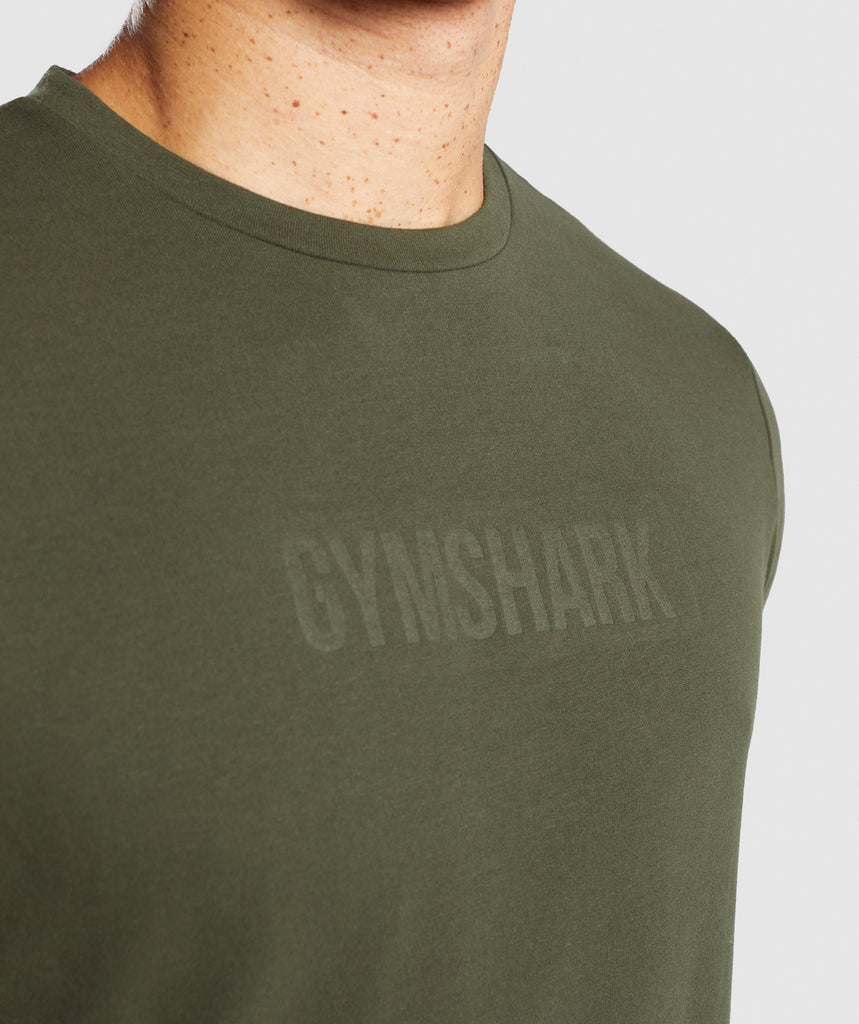 Gymshark Stamped Logo T-Shirt - Woodland Green 5