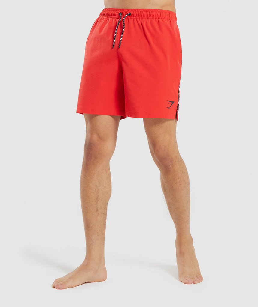Gymshark Taped Swim Shorts - Red 1