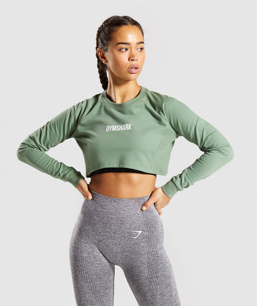 Gymshark Training Cropped Sweater - Green 1