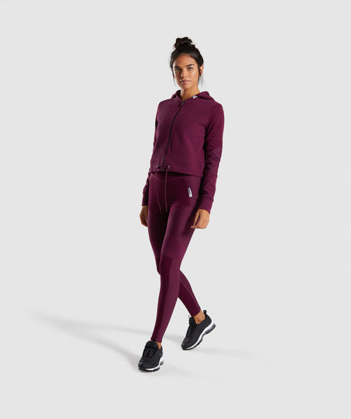 Gymshark True Texture Hooded Bomber Jacket - Dark Ruby 3