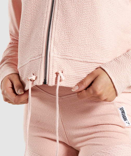 Gymshark True Texture Hooded Bomber Jacket - Blush Nude 4
