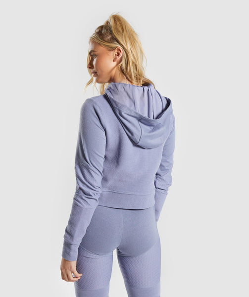 Gymshark True Texture Hooded Bomber Jacket - Steel Blue 4