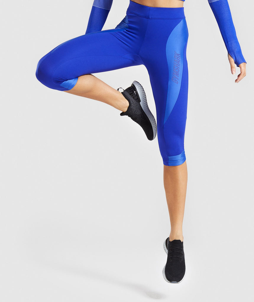 785bfea6c6e0a0 Gymshark Turbo Cropped Leggings - Cobalt Blue 1