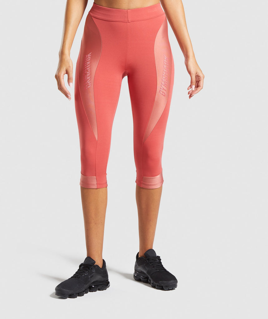 Gymshark Turbo Cropped Leggings - Brick Red 1