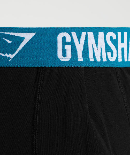Gymshark Mens Trunks 2pk - Black/Deep Teal 3