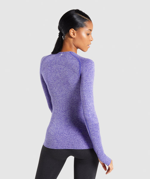 Full Length Indigo Marl Vital Seamless Long Sleeve T-Shirt Back 1
