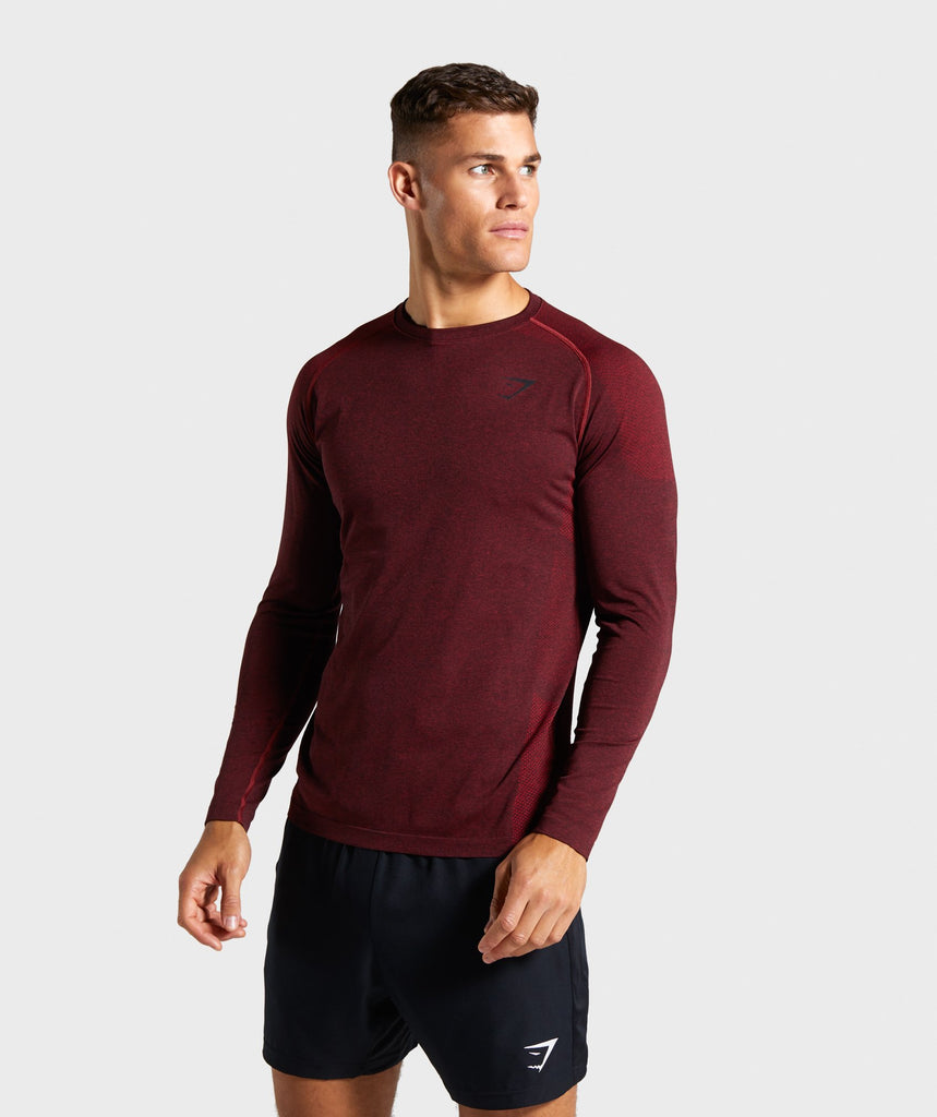 Gymshark Vital Seamless Long Sleeve T-Shirt - Red 1
