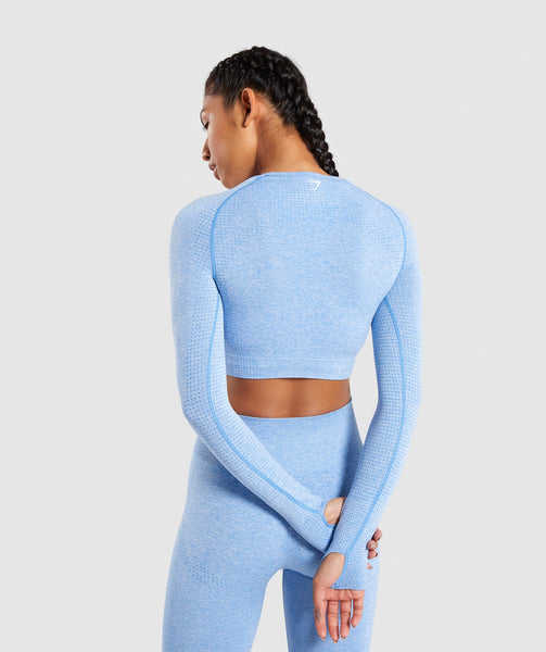 Gymshark Vital Seamless Long Sleeve Crop Top - Blue 1