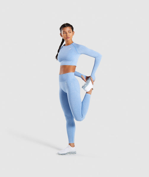 Gymshark Vital Seamless Long Sleeve Crop Top - Blue 4