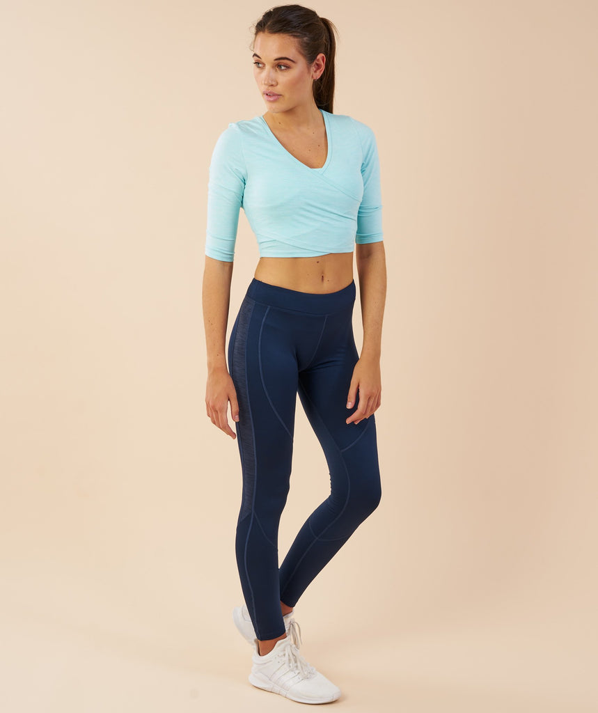 Gymshark Ballet Crop Top - Pale Turquoise Marl 1
