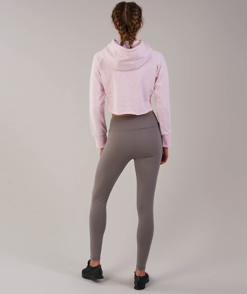 Gymshark Cropped Raw Edge Hoodie - Chalk Pink Marl 2