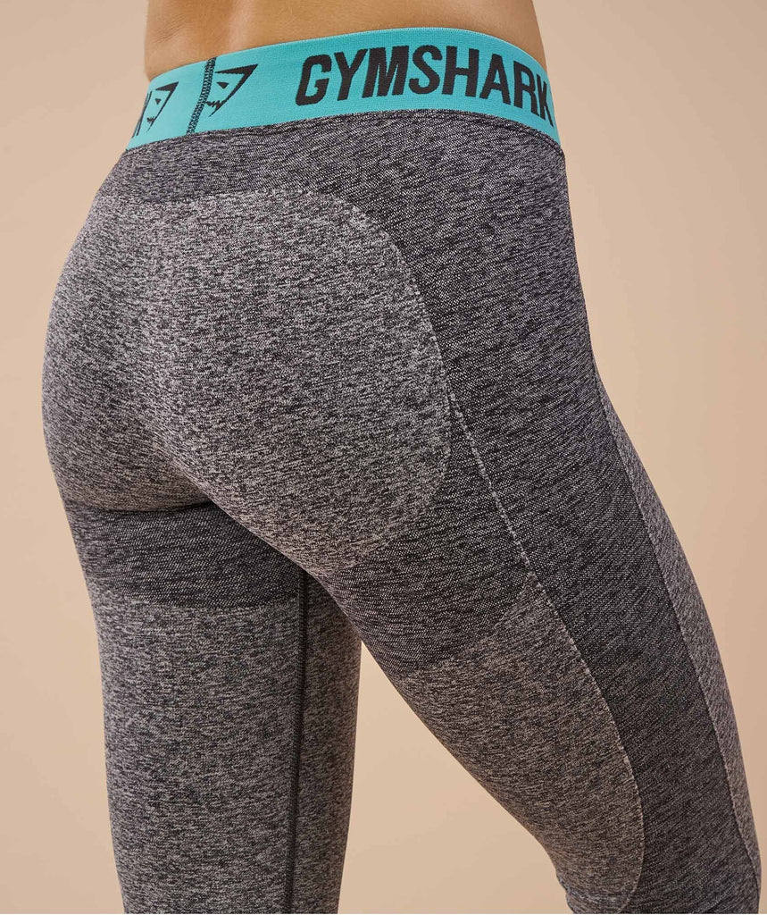 Gymshark Flex Leggings - Charcoal Marl/Pale Turquoise 5