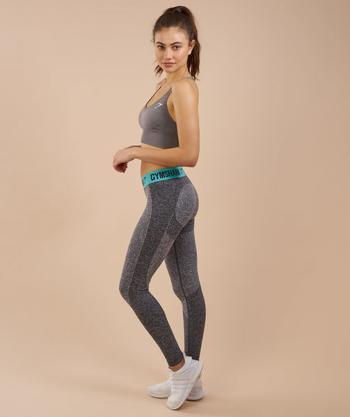 Gymshark Flex Leggings - Charcoal Marl/Pale Turquoise 2